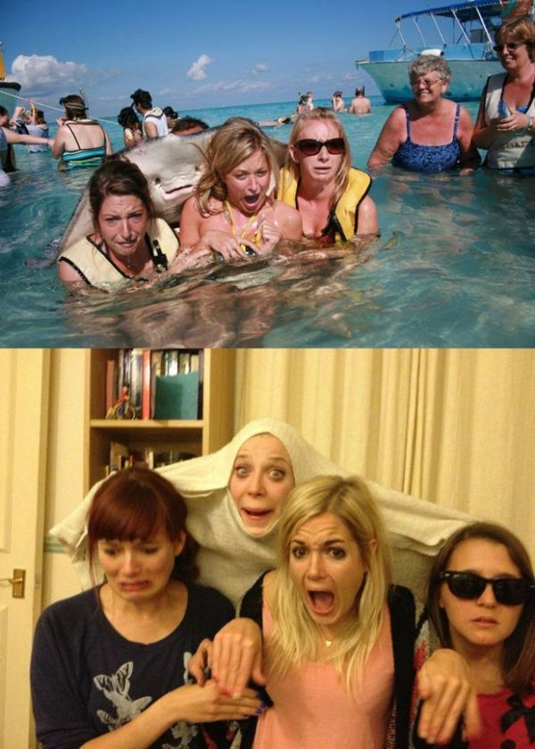 Bêbadas, amigas recriam famosa foto com