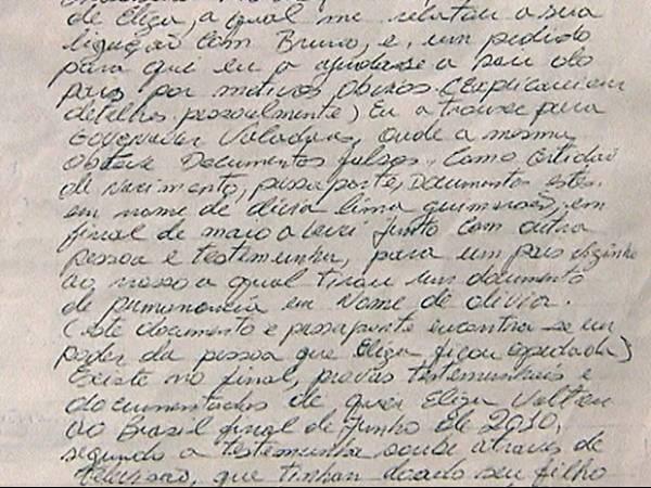 Carta entregue à defesa de Bruno afirma que Eliza Samúdio saiu do país com nome falso