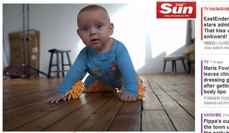 Roupinha transforma bebê em esfregão