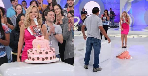 Eliana ganha festa surpresa no SBT e o bolo cai no chão