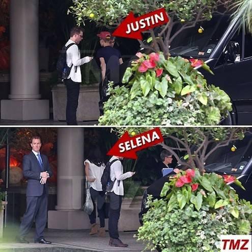 Justin Bieber e Selena Gomez chegam juntos em hotel de luxo