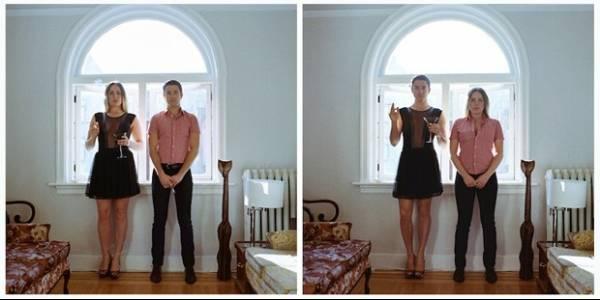 Ensaio mostra casais repetindo foto,  mas com roupa invertida