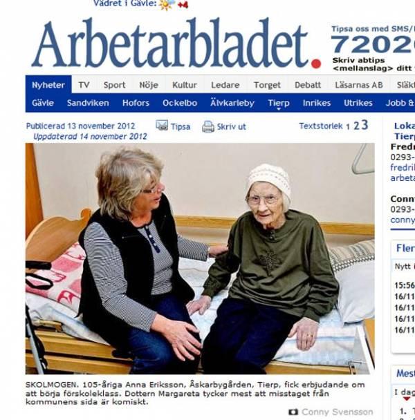 Erro faz sueca de 105 anos ser matriculada em turma da pré-escola