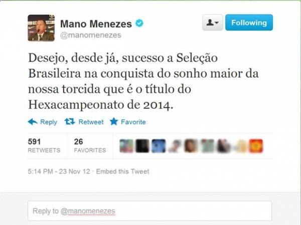 No Twitter, Mano comenta saída e deseja sorte ao Brasil em 2014