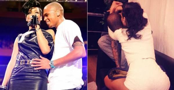 Rihanna posta foto abraçando e beijando o rapper Chris Brown
