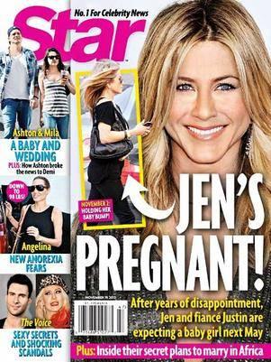 Segundo revista, Jennifer Aniston estaria grávida de dois meses