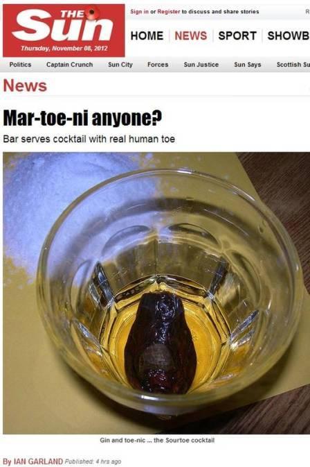 Bar canadense oferece bebida com dedão do pé para clientes