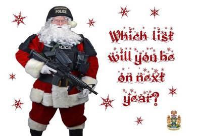 Cartão enviado a criminosos no Canadá mostra Papai Noel armado