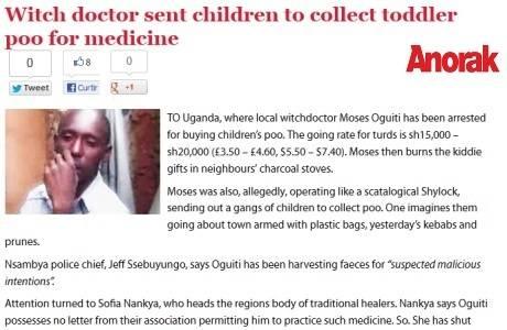 Curandeiro que comprava cocô de criança é preso em Uganda