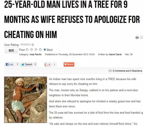 Indiano vive há 9 meses em árvore após ser traído pela esposa