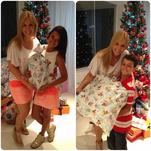 Carla Perez se declara para Xanddy e os filhos na noite de Natal