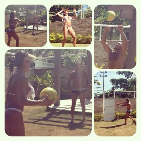 Gracyanne Barbosa joga vôlei com Belo: