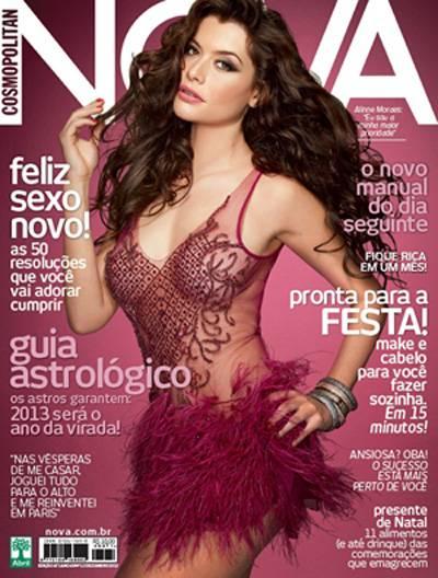 Alinne Moraes posa com transparência para revista