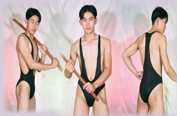 Site reúne fotos bizarras de modelos com maiô masculino