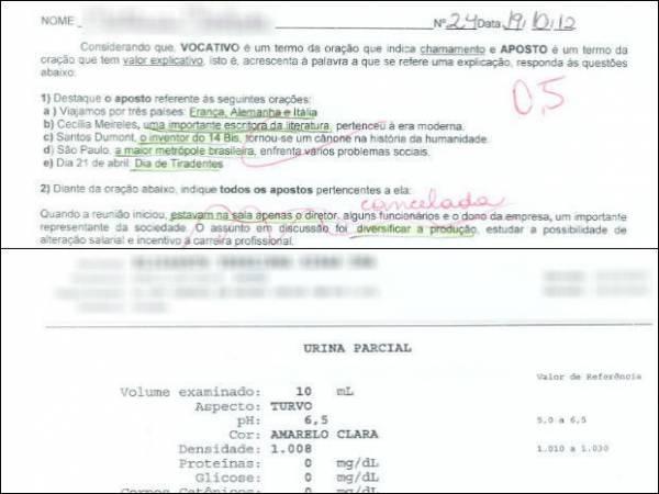 Professora imprime prova no verso de exame de urina