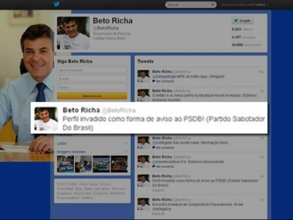 Perfis em redes sociais do governador do PR, Beto Richa, são invadidos