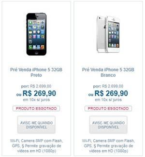 Site da TIM informa que iPhone 5 de 32 GB custará R$ 2.700