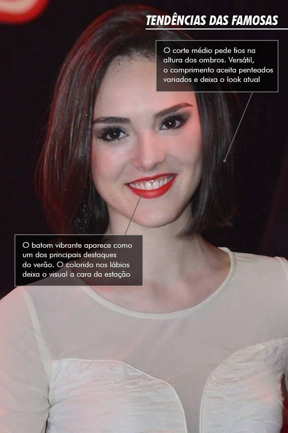 Isabelle Drummond aposta nos cabelos médios e boca colorida