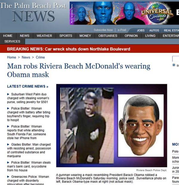 Ladrão rouba restaurante usando máscara de Obama