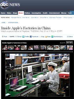TV dos EUA mostra como funciona fábrica de iPad e iPhone na China