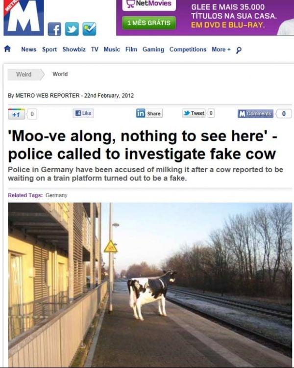 Polícia é acionada por causa de vaca de mentira na Alemanha