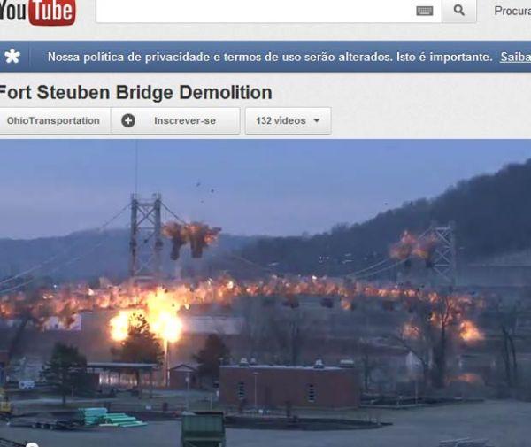 Explosão planejada derruba ponte de 450 metros nos EUA