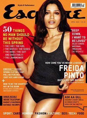 Freida Pinto posa de calcinha e camiseta para revista