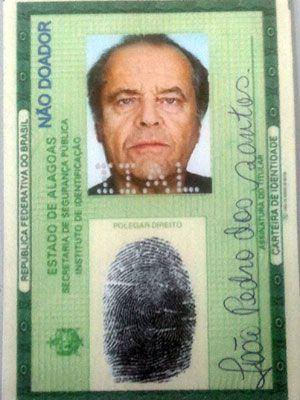 Falsificador de RG com foto do ator Jack Nicholson simulou rendimentos de R$ 2 milhões