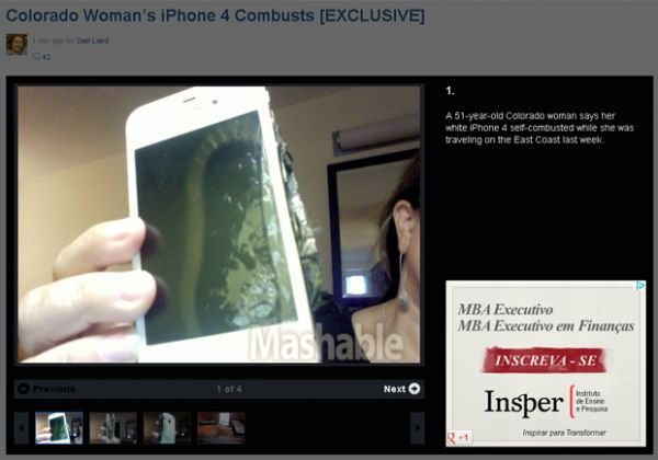Enquanto carregava, iPhone 4 de americana explode perto de cama
