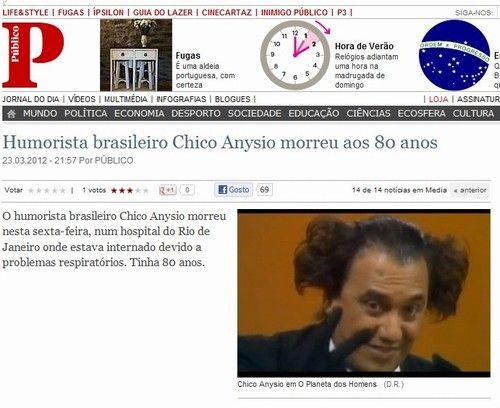 Jornal usa foto de Renato Aragão em nota da morte de Chico Anysio