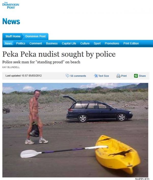 Polícia tenta identificar homem flagrado nu em praia na Nova Zelândia