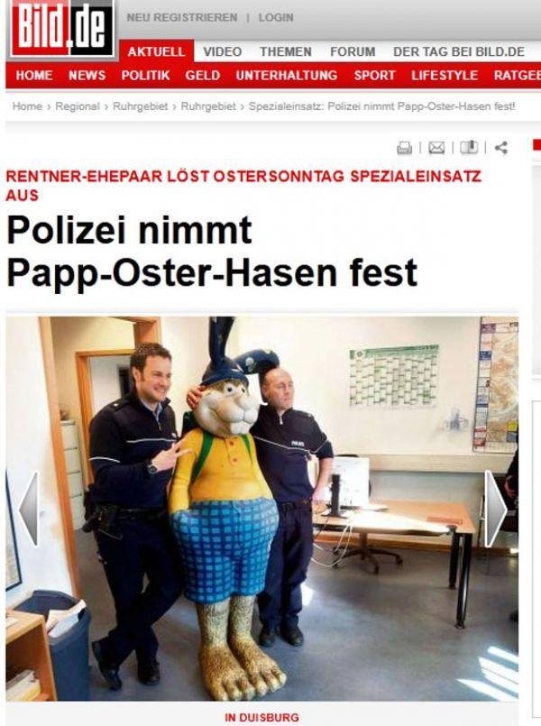 Após assustar casal, coelhinho da Páscoa é preso na Alemanha