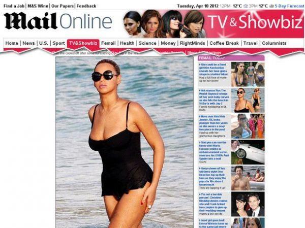 Cantora Beyoncé é fotografada na praia 3 meses após dar à luz