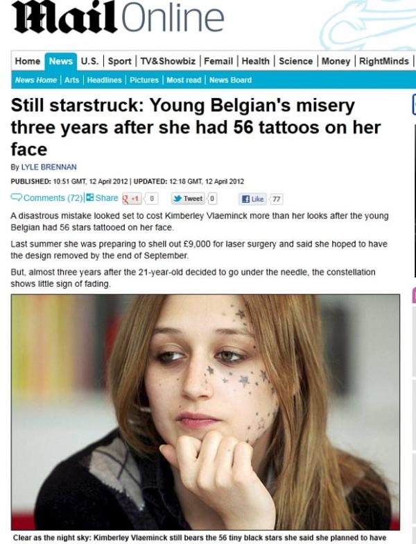 Belga pretende remover cirurgicamente suas 56 estrelas tatuadas no rosto