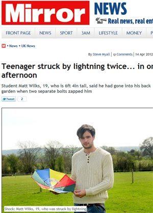Jovem sobrevive após ser atingido por dois raios seguidos