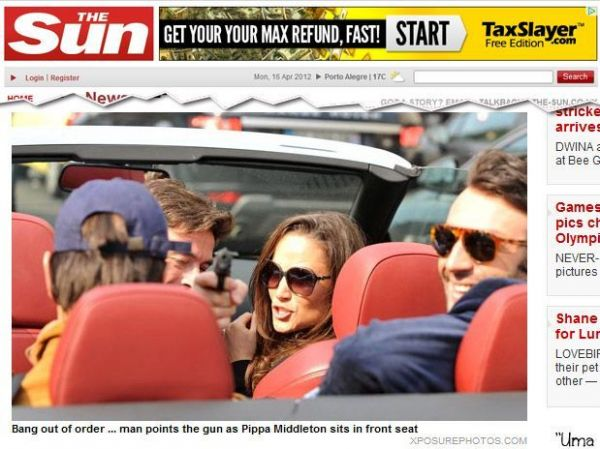 Amigo de Pippa Middleton aponta arma para paparazzi em Paris