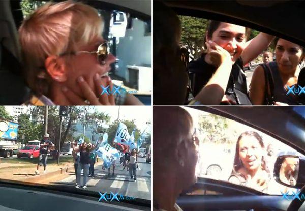 Xuxa é cercada por multidão de fãs argentinos no Projac