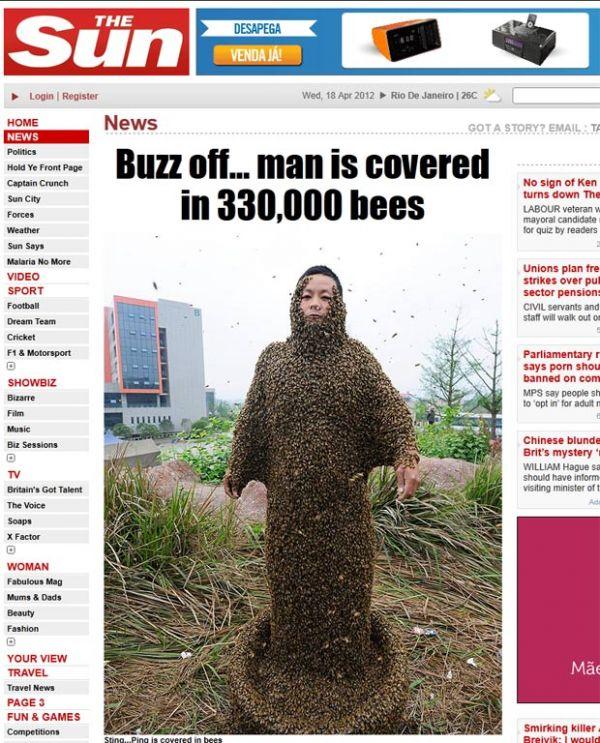 Chinês cobre o corpo inteiro com 330 mil abelhas e leva poucas picadas