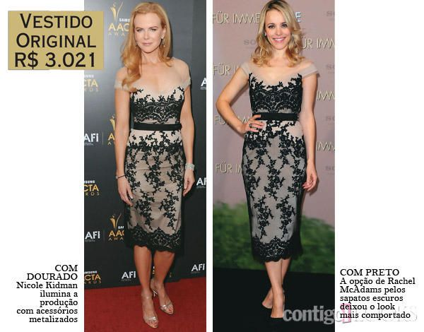 Nicole Kidman e Rachel McAdams apostaram no mesmo vestido de renda da grife Collette Dinnigan