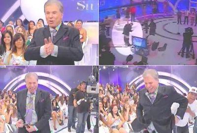 Silvio Santos fica sem as calças em gravação de programa; vídeo