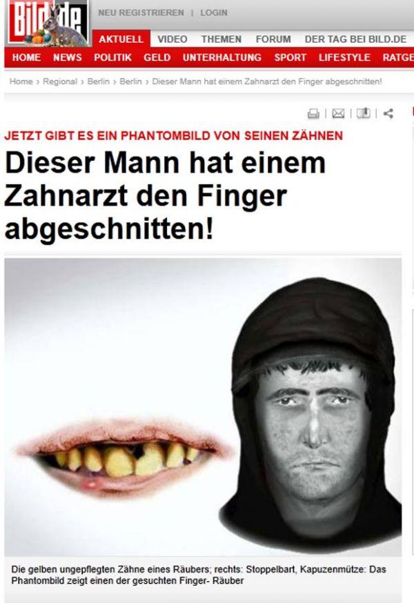 Polícia alemã faz retrato dos dentes sujos de suspeito