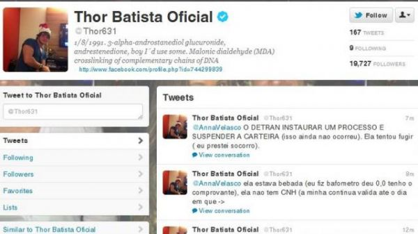Thor Batista discute sobre atropelamento no Twitter