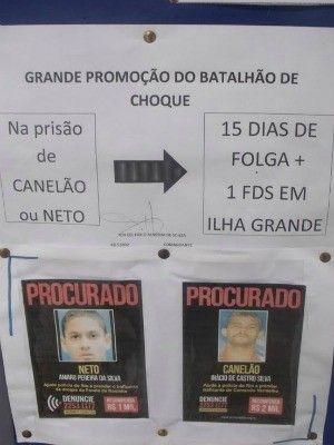 Batalhão de Choque do RJ dá folga a policiais que prenderem traficantes