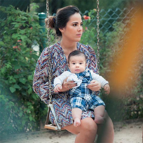 Wanessa leva o filho José Marcus para o 1º passeio no parque