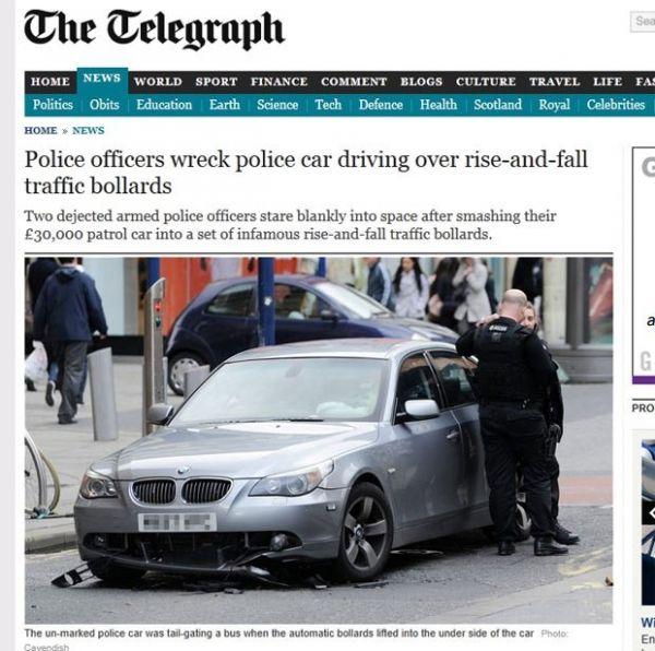 Policiais destroem carro patrulha ao entrar em rua restrita ao tráfego