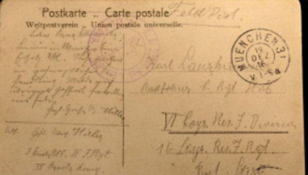Cartão postal escrito por Hitler ferido na 1°Guerra é encontrado