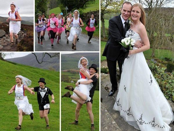 No grande dia, noiva é perseguida por 108 corredores até o altar