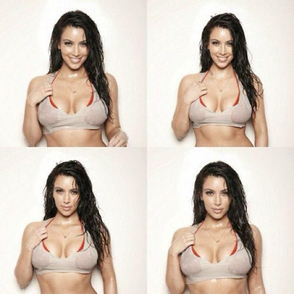 Kim Kardashian aparece em fotos molhada e selvagem