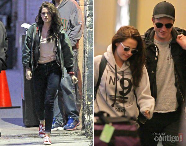 Robert Pattinson e Kristen Stewart chegam juntos em aeroporto no Canadá