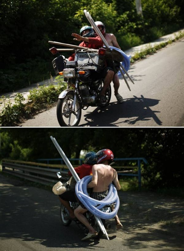 Ucraniano é flagrado levando materiais de construção em moto